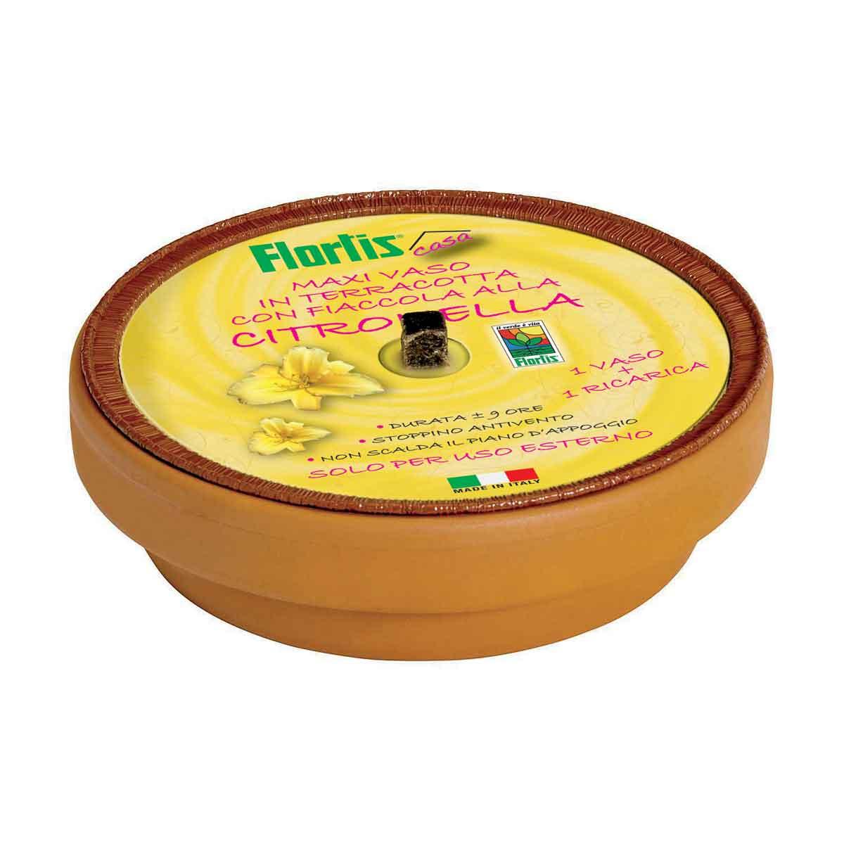 Flortis maxi vaso anti zanzare in terracotta con fiaccola alla citronella