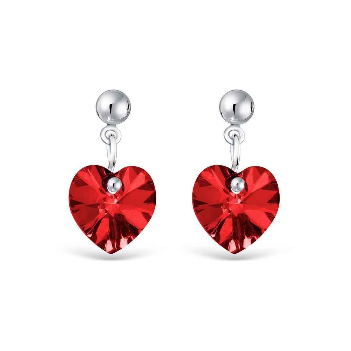 Bijoux Orecchini cuore in Cristallo Swarovski rosso