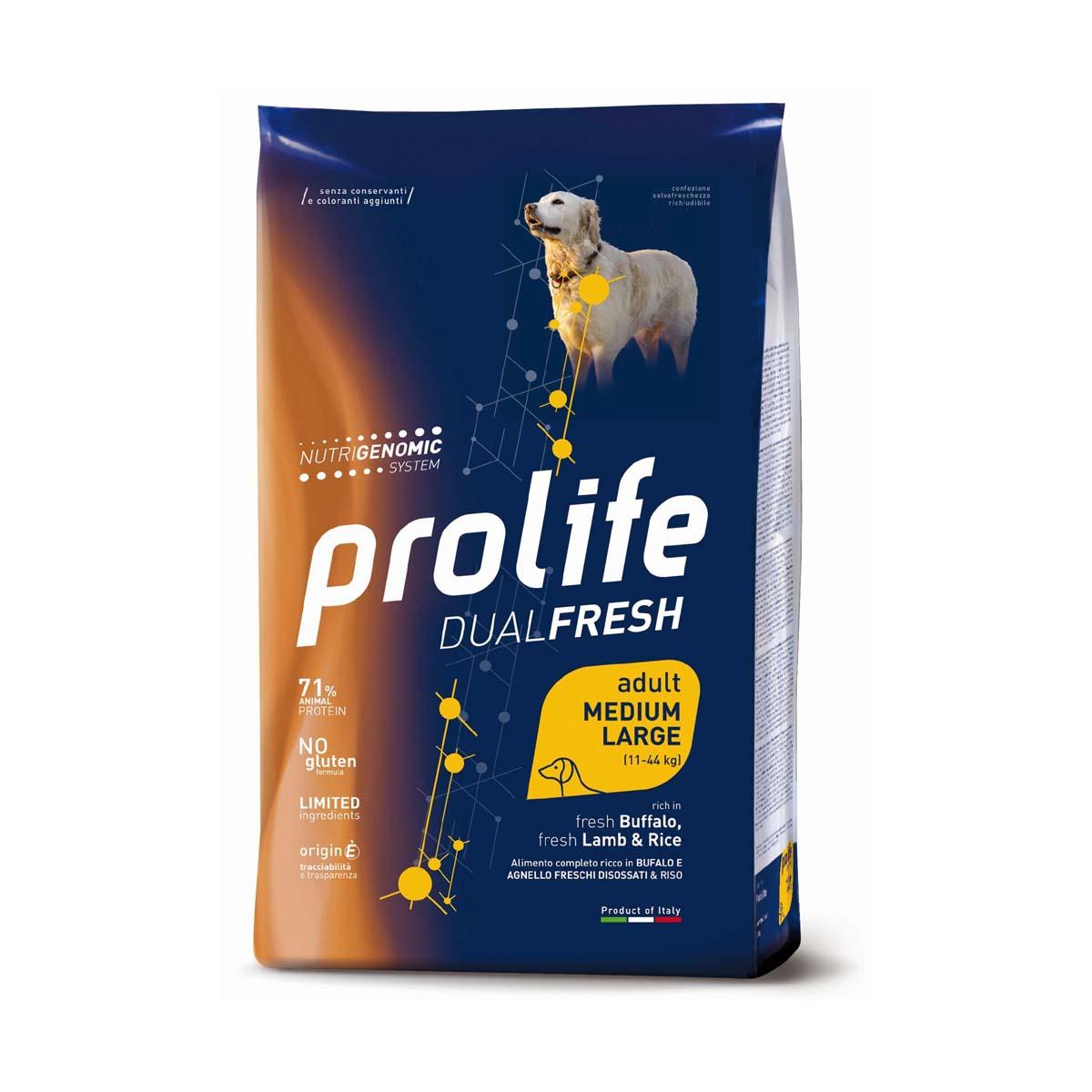 Prolife Dual Fresh Adult fresh Buffalo, fresh Lamb & Rice – Medium/Large – 2,5kg