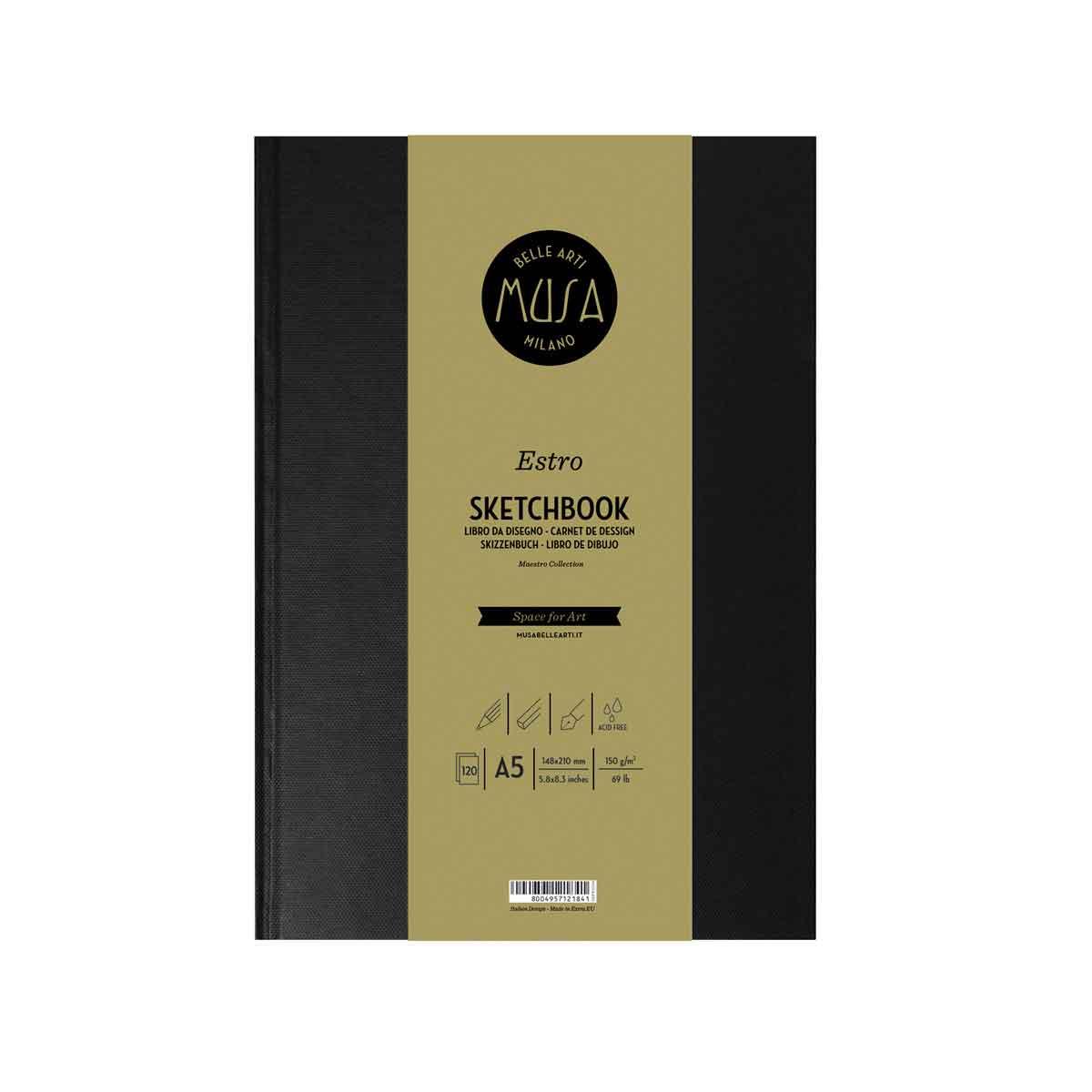 Estro Sketchbook Libro da 120 pagine fogli da 150g. Grana liscia formato A5