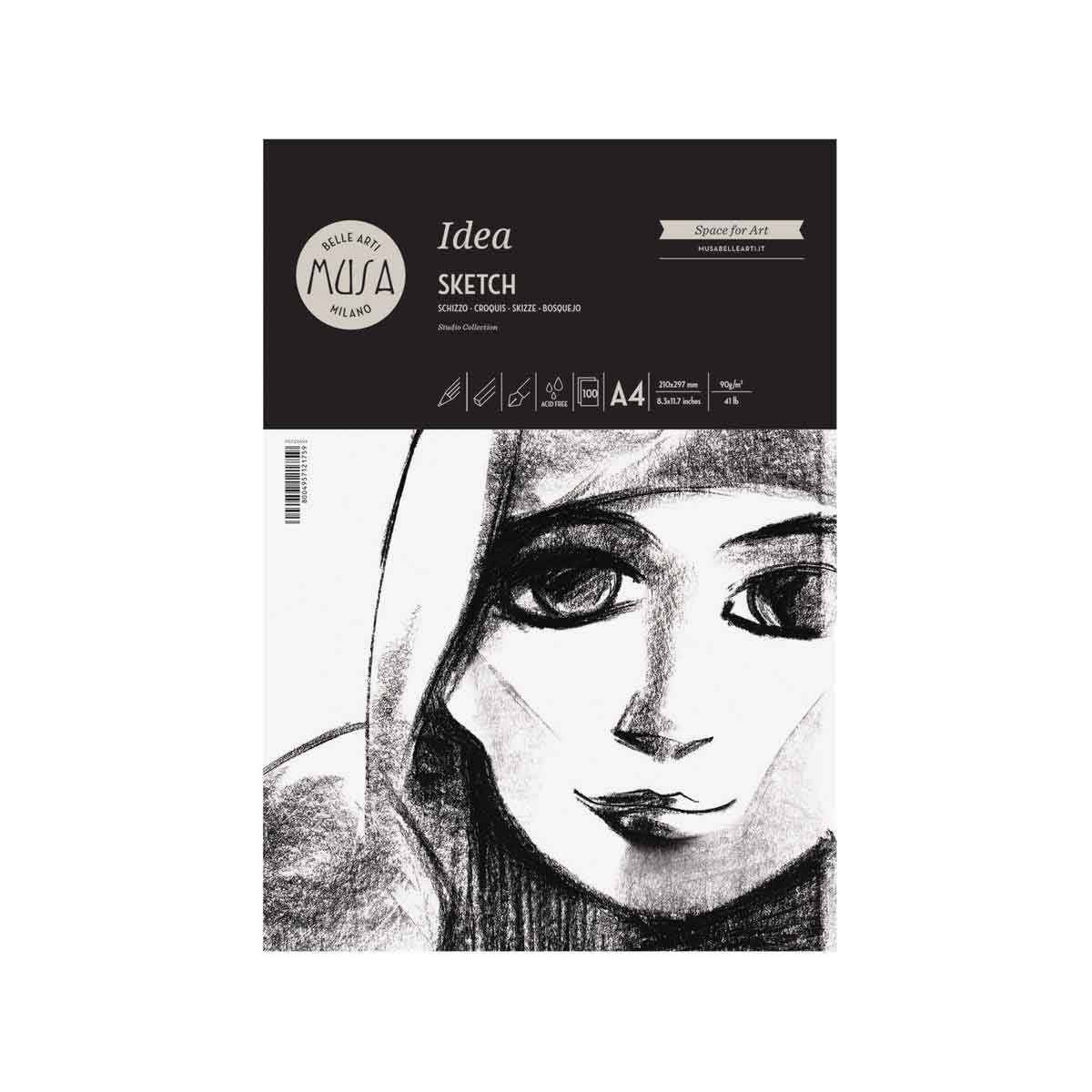 Idea Sketch – Schizzo Blocco da 100 fogli da 90g. Grana Media formato A4