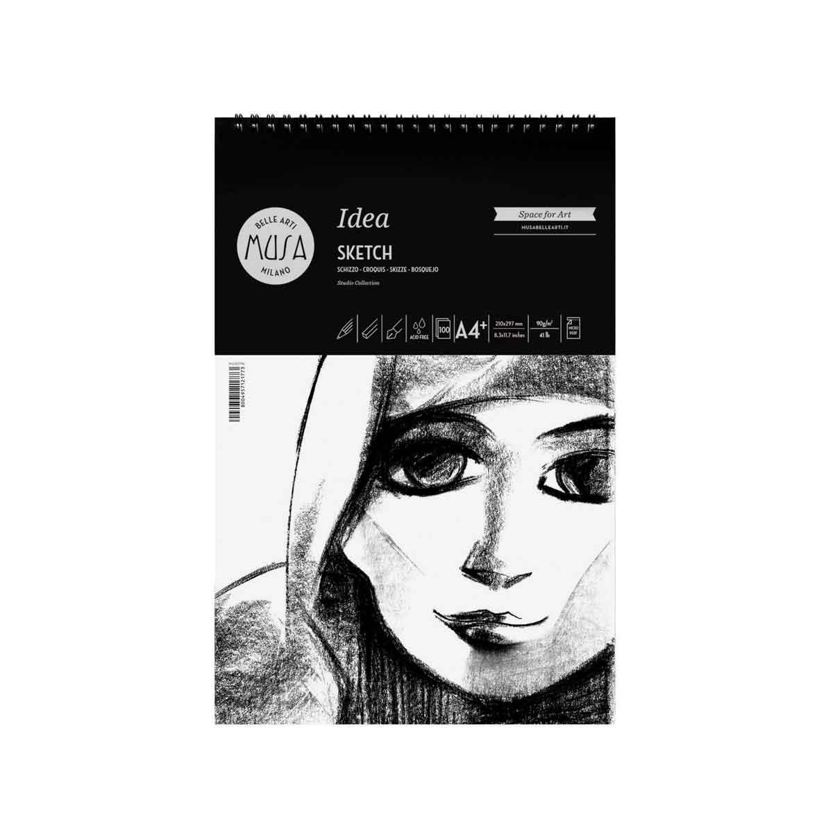 Idea Sketch – Schizzo a spirale da 100 fogli da 90g. Grana Media formato A4+