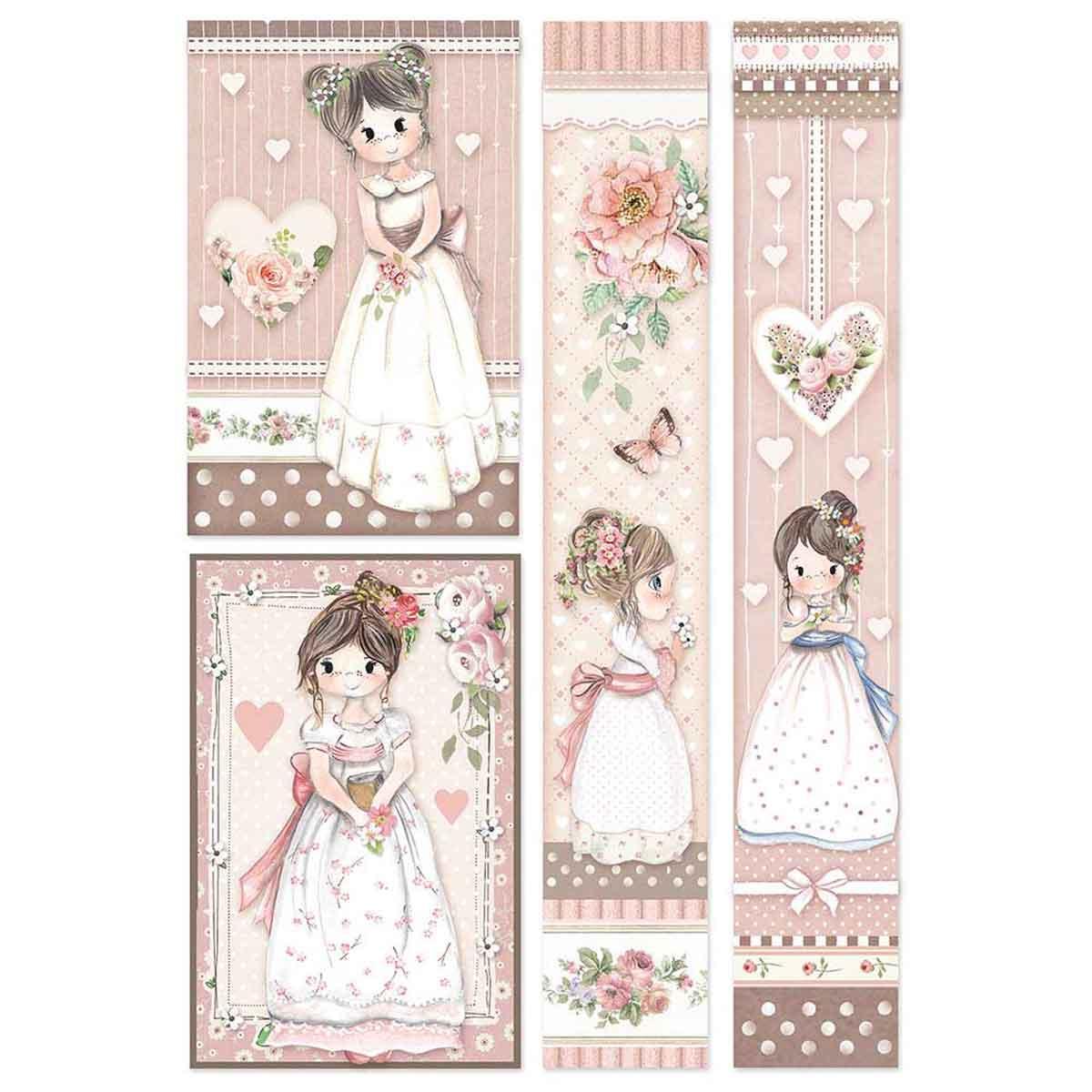 """Linea Carte – Carta di riso A4 Little Girl """"Riquadri"""" per Decoupage"""