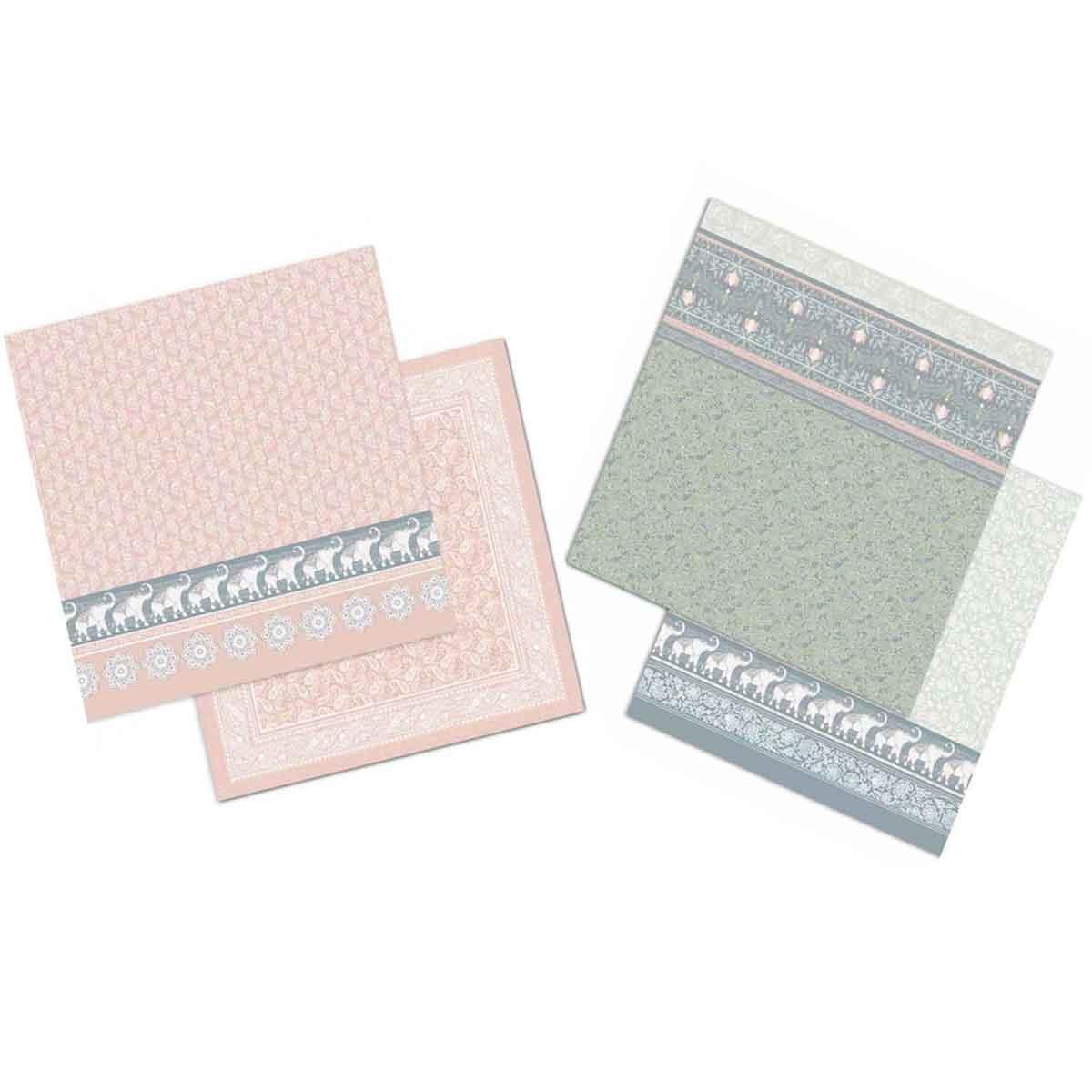 Linea Carte Scrapbooking – Fogli Elefanti su texture colorata