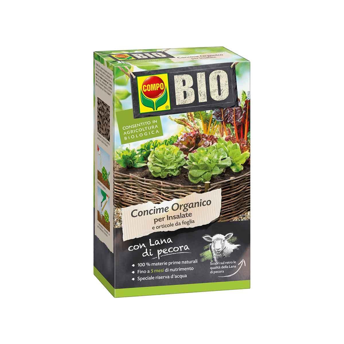 Compo Concime Bio con lana di pecora per insalate e ortaggi da foglia