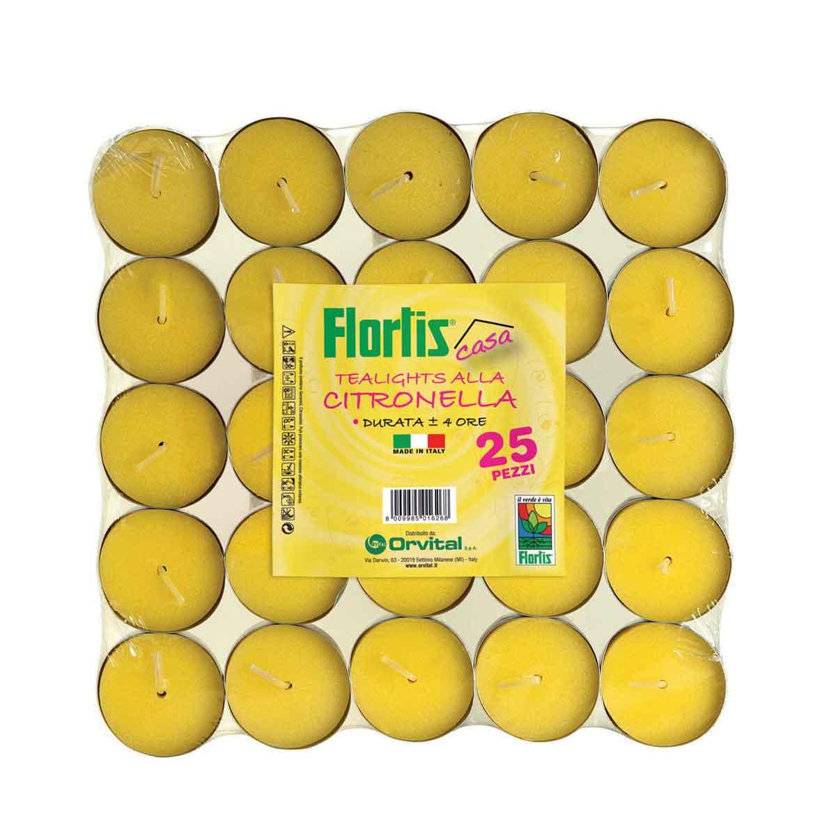Flortis Tealights anti zanzare alla citronella 25 pezzi