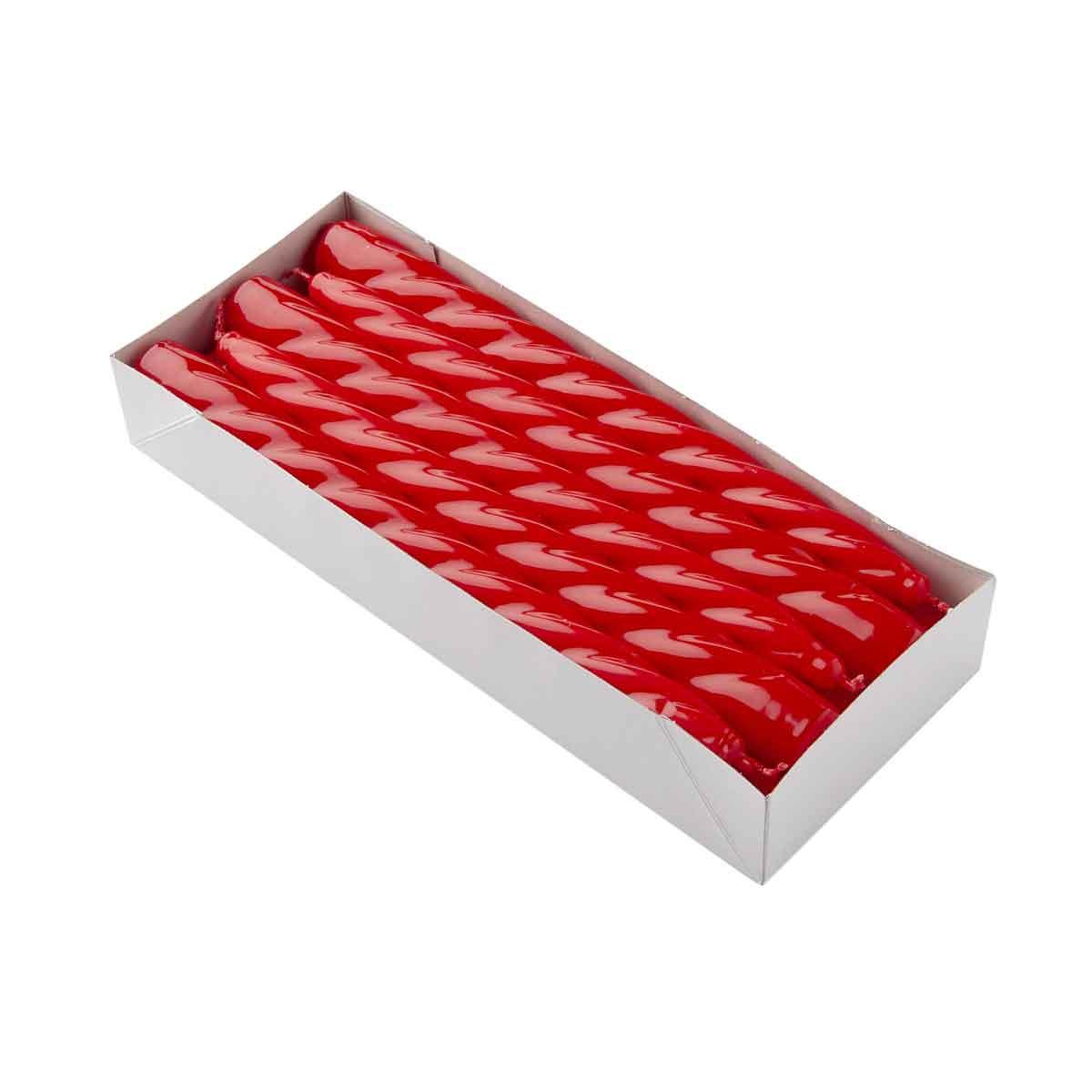 Candela Conica altezza 23cm in Box da 10 pezzi color Rosso o Bordeaux