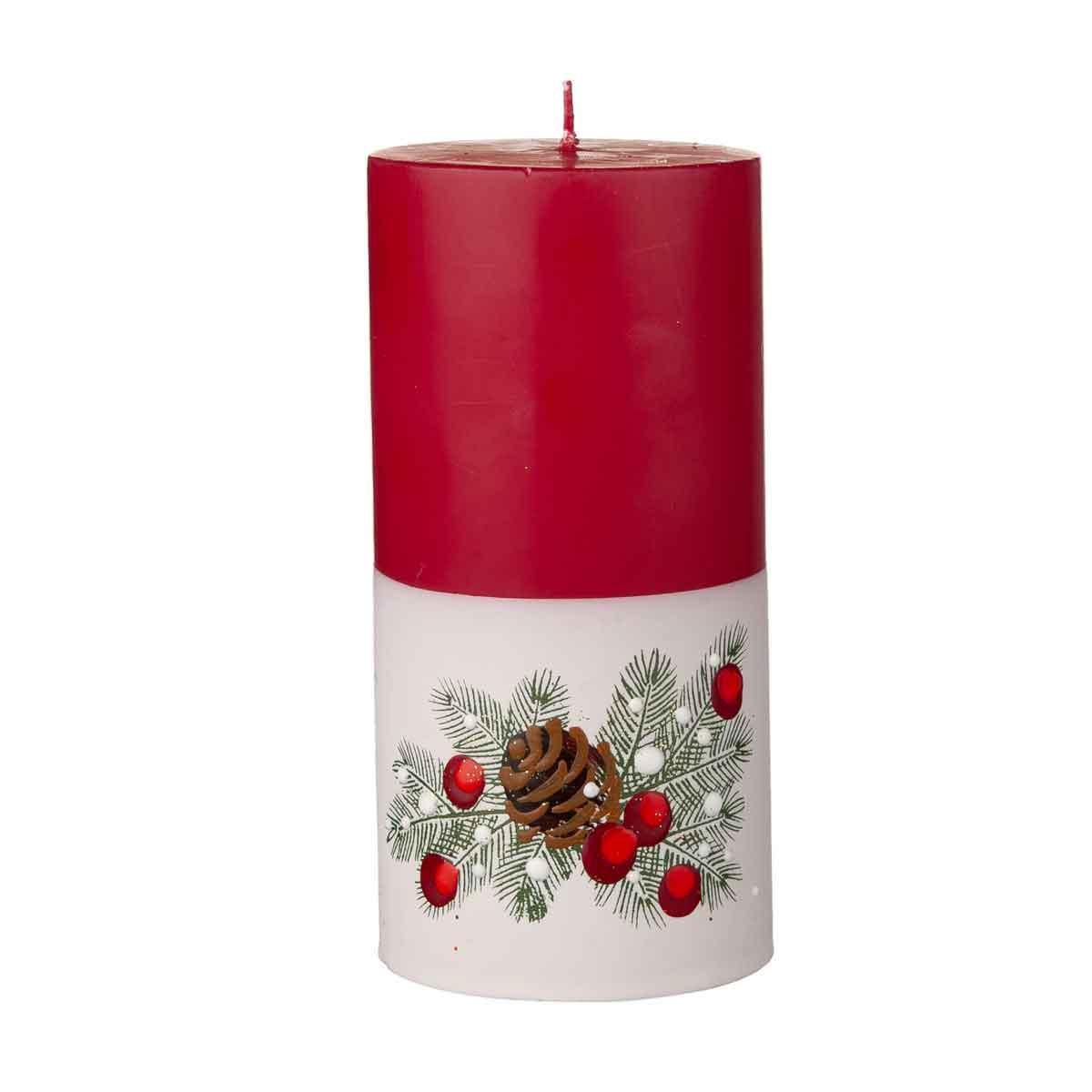 Candela cilindrica con rami di pino, bianca e rossa diametro 7cm