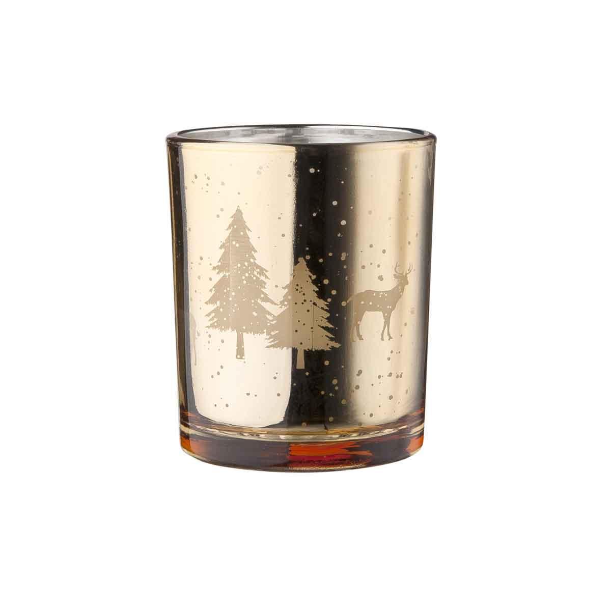 Candela in bicchierino di vetro oro