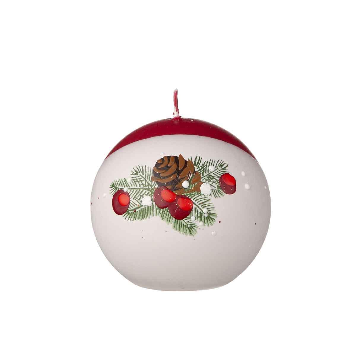 Candela sferica con rami di pino, bianca e rossa diametro 8 cm