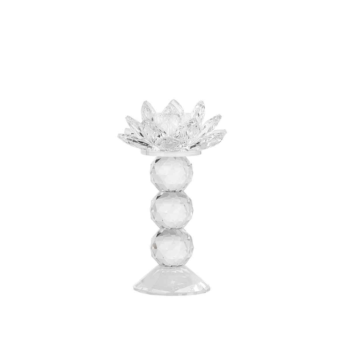 Candeliere in vetro a fiore altezza 16cm