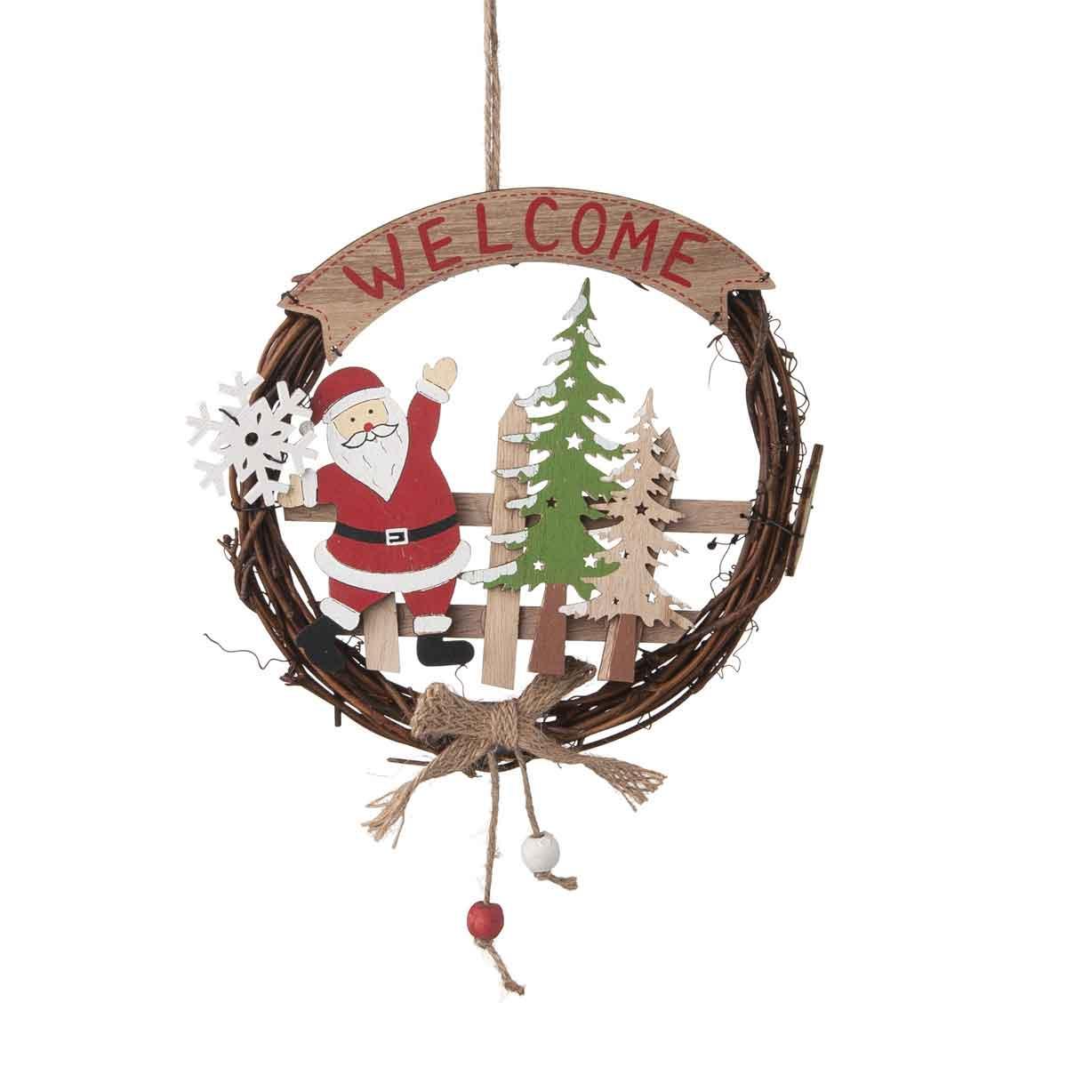 Corona fuoriporta con Babbo Natale diametro 18cm