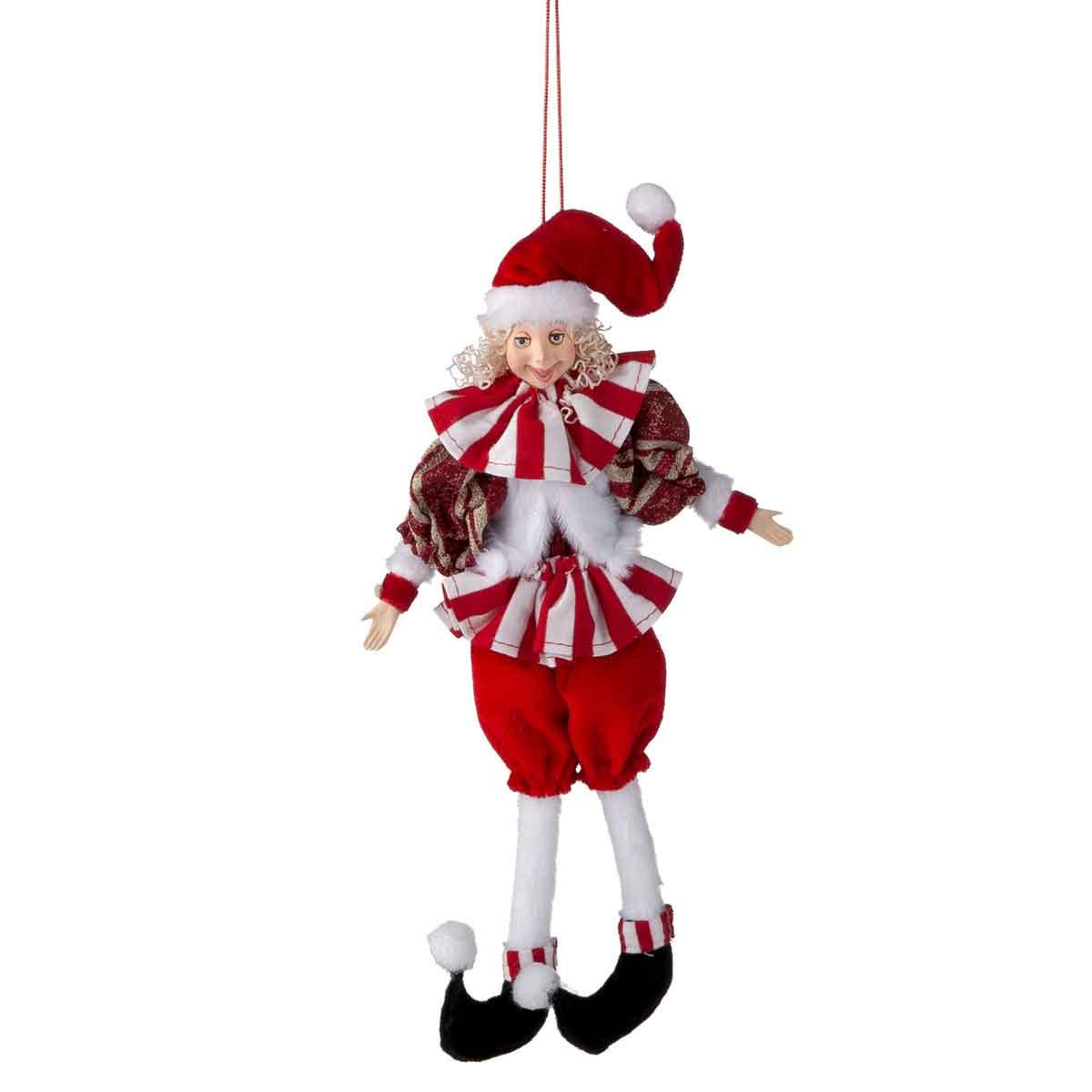 Elfo appendibile bianco e rosso altezza 33cm