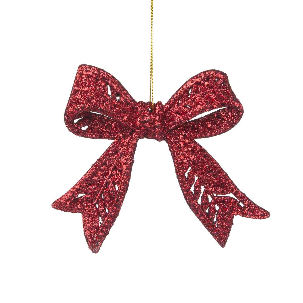 Fiocco appendibile con glitter rosso