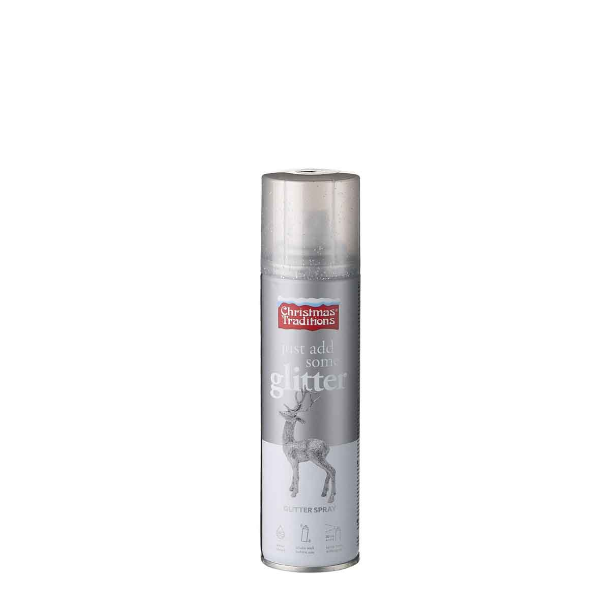 Glitter spray colore argento a base d'acqua. Confezione da 100 ml
