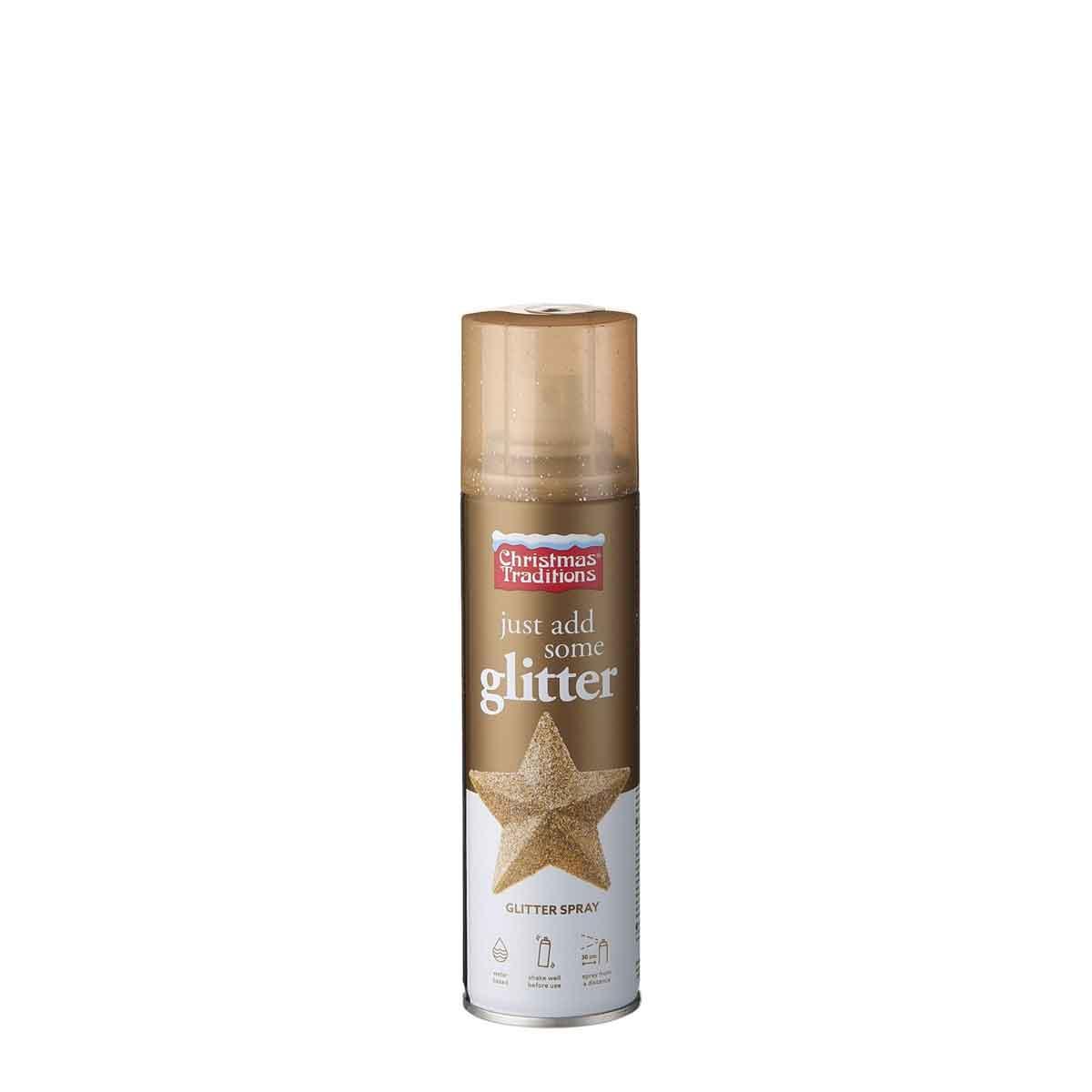 Glitter spray colore oro a base d'acqua. Confezione da 100 ml