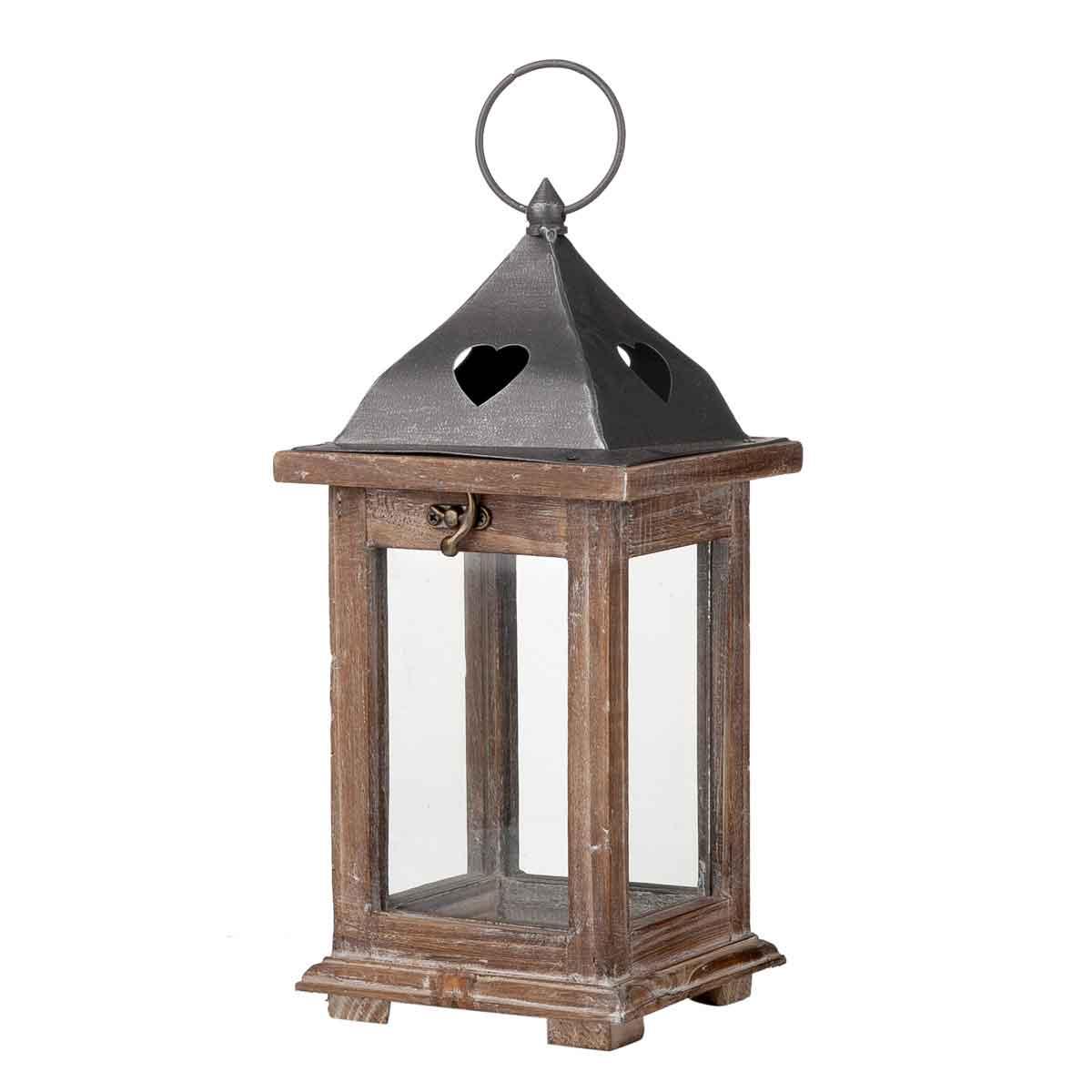 Lanterna in legno e vetro altezza 31,5cm