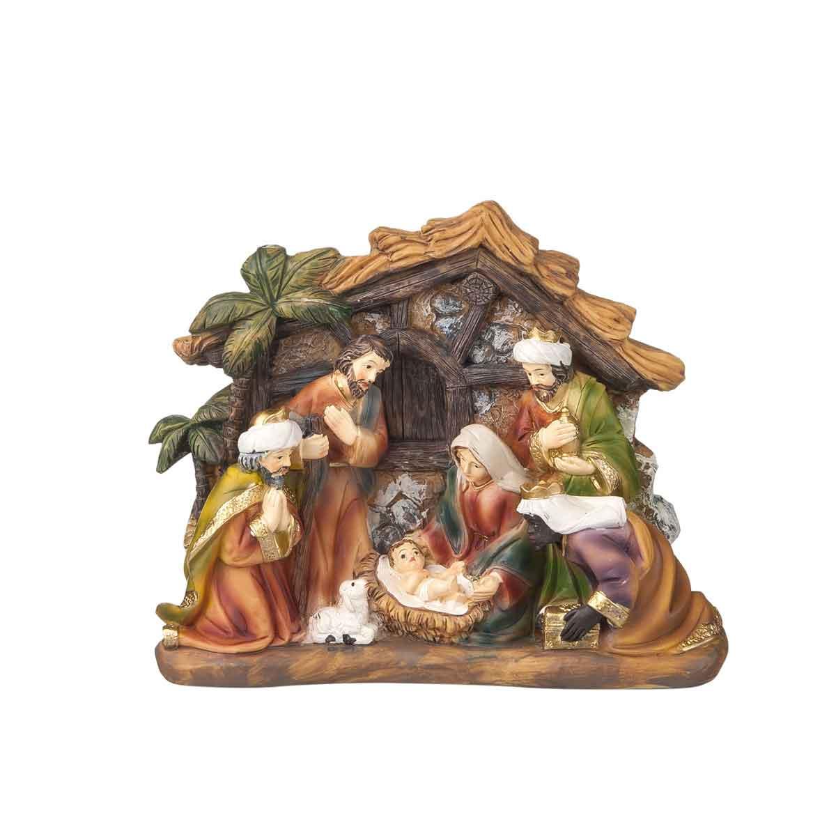 "Presepe – Natività completa in resina ""capanna"" altezza 13 cm"