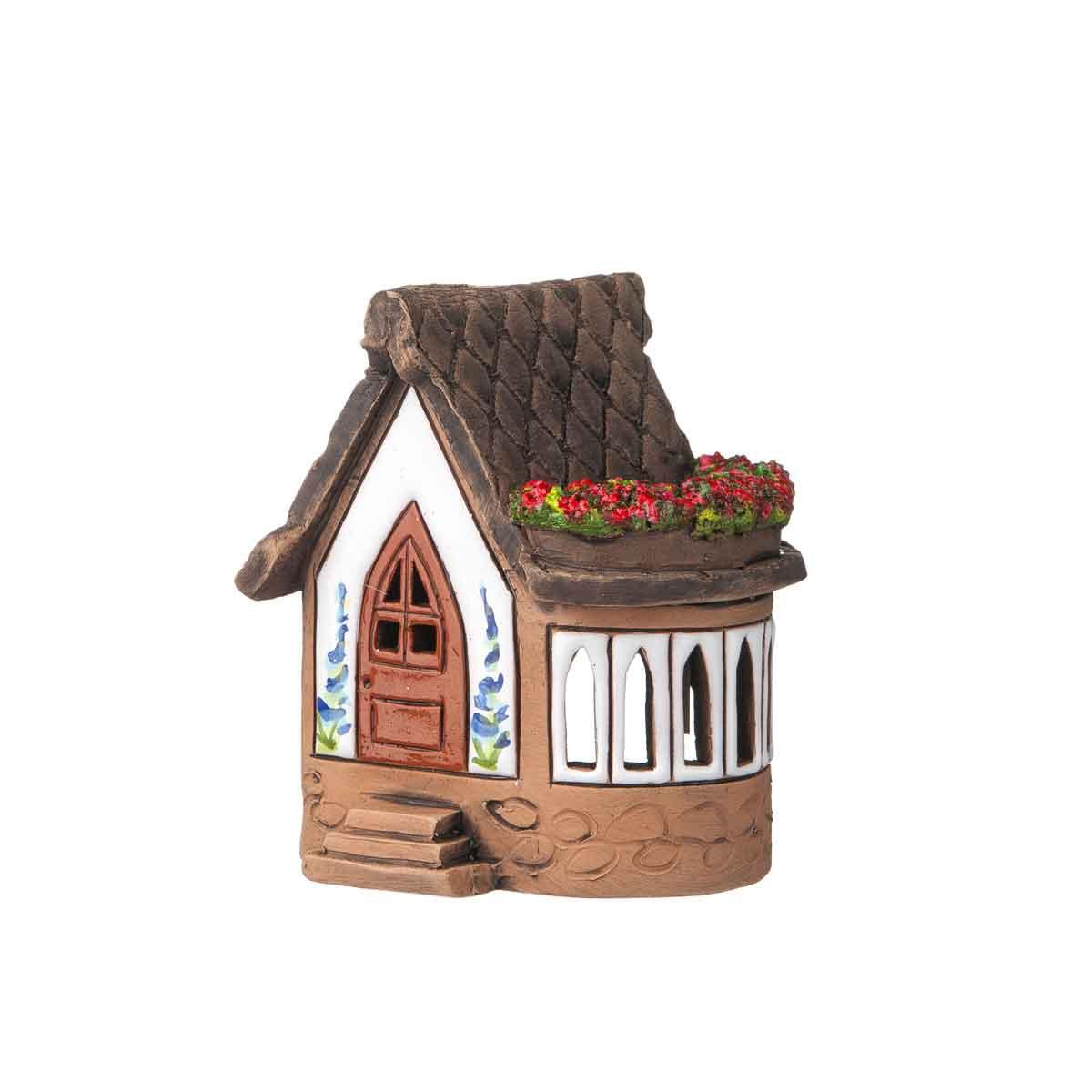 Porta tealight casetta con fioriera sul tetto altezza 10cm