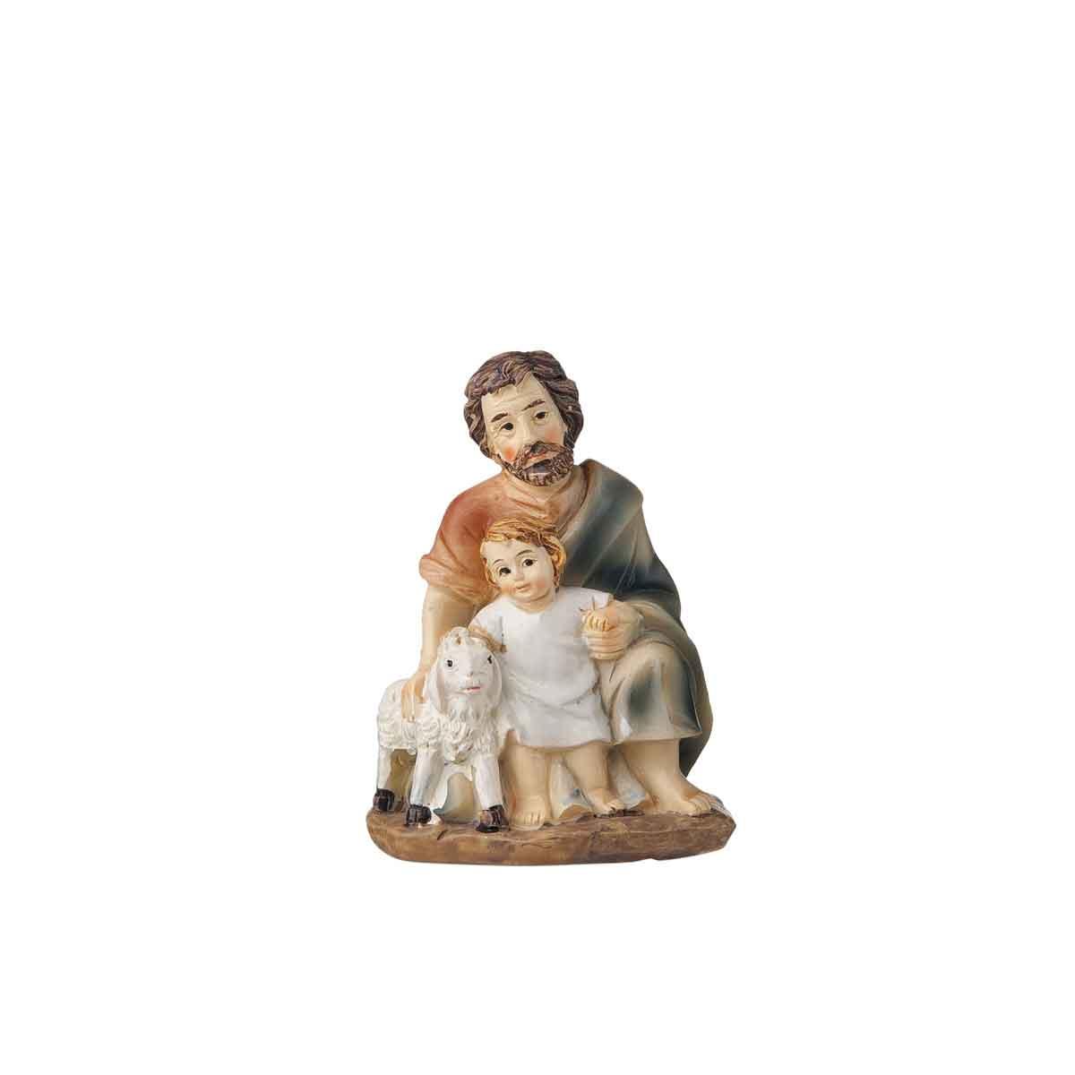 Presepe – Statuetta pastore con bimbo e pecora altezza 12cm