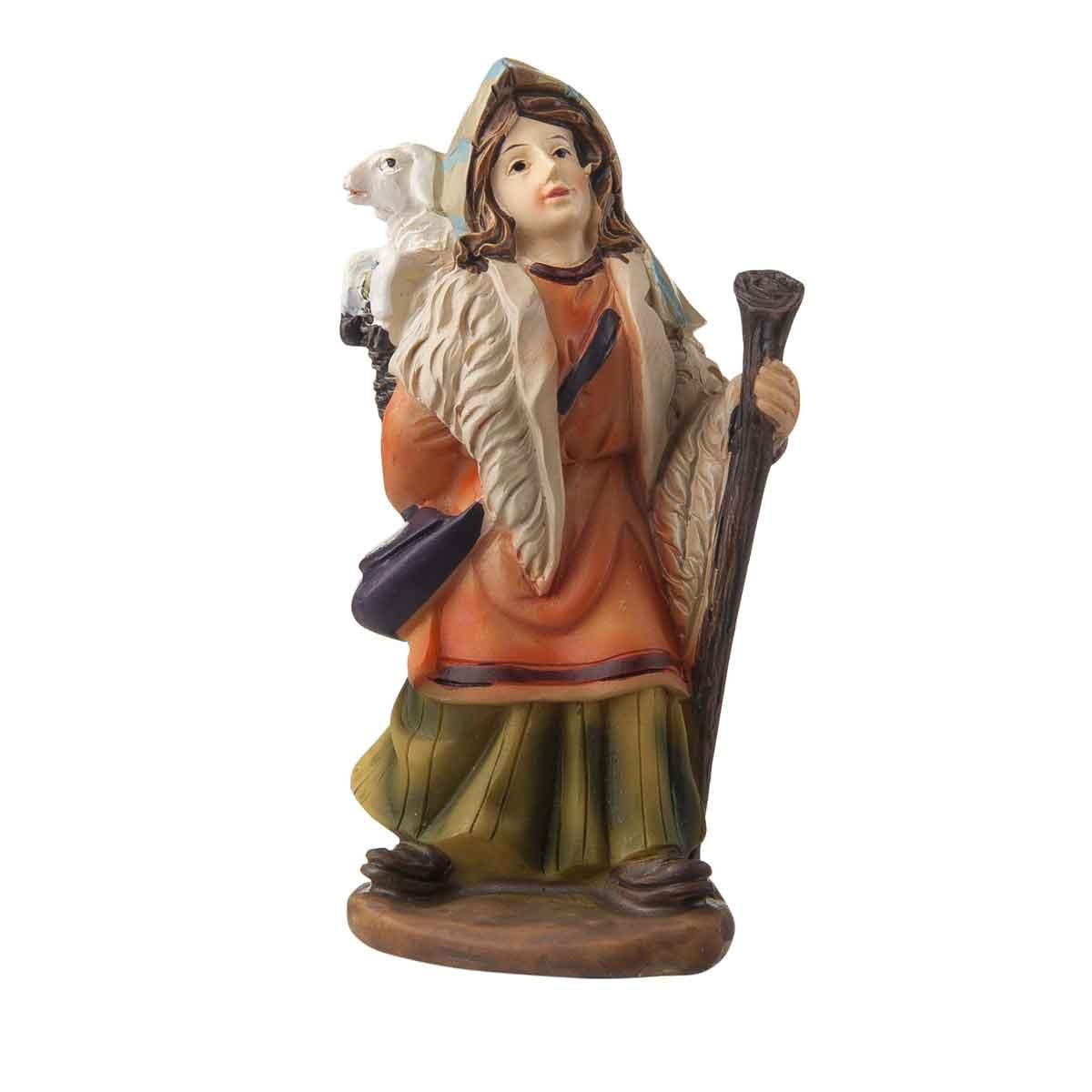 Presepe – Statuetta pastore con pecora e bastone altezza 9cm