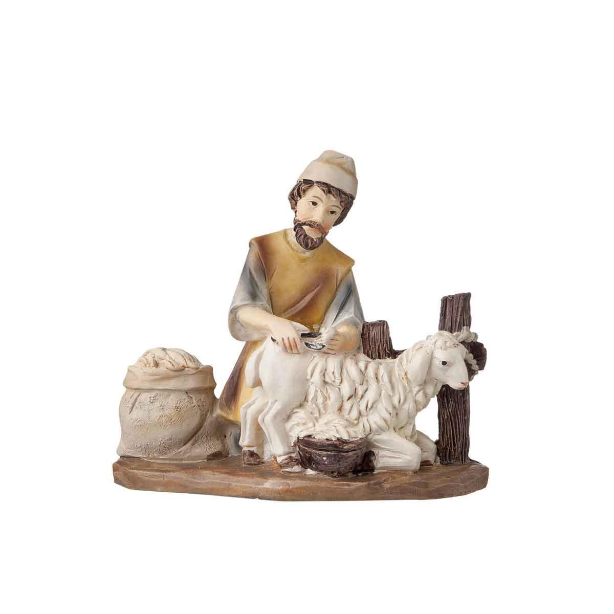 Presepe – Statuetta tosatore di pecore altezza 12cm