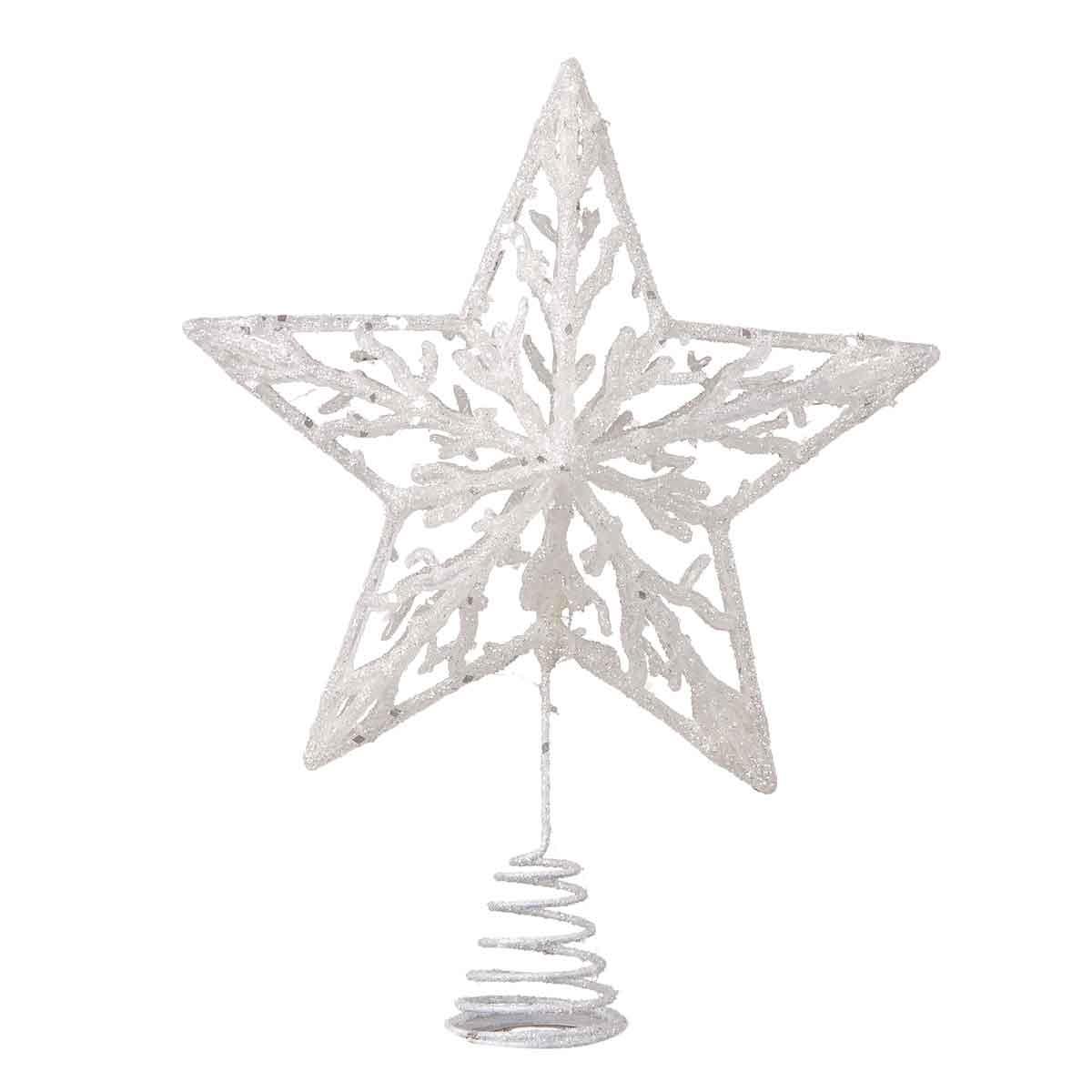 Puntale a stella bianco glitterato altezza 23cm