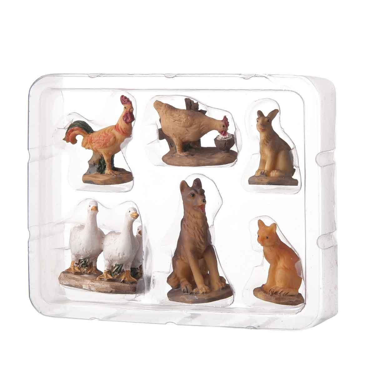 Presepe – Set 6 statuette con animali altezza 3,8cm