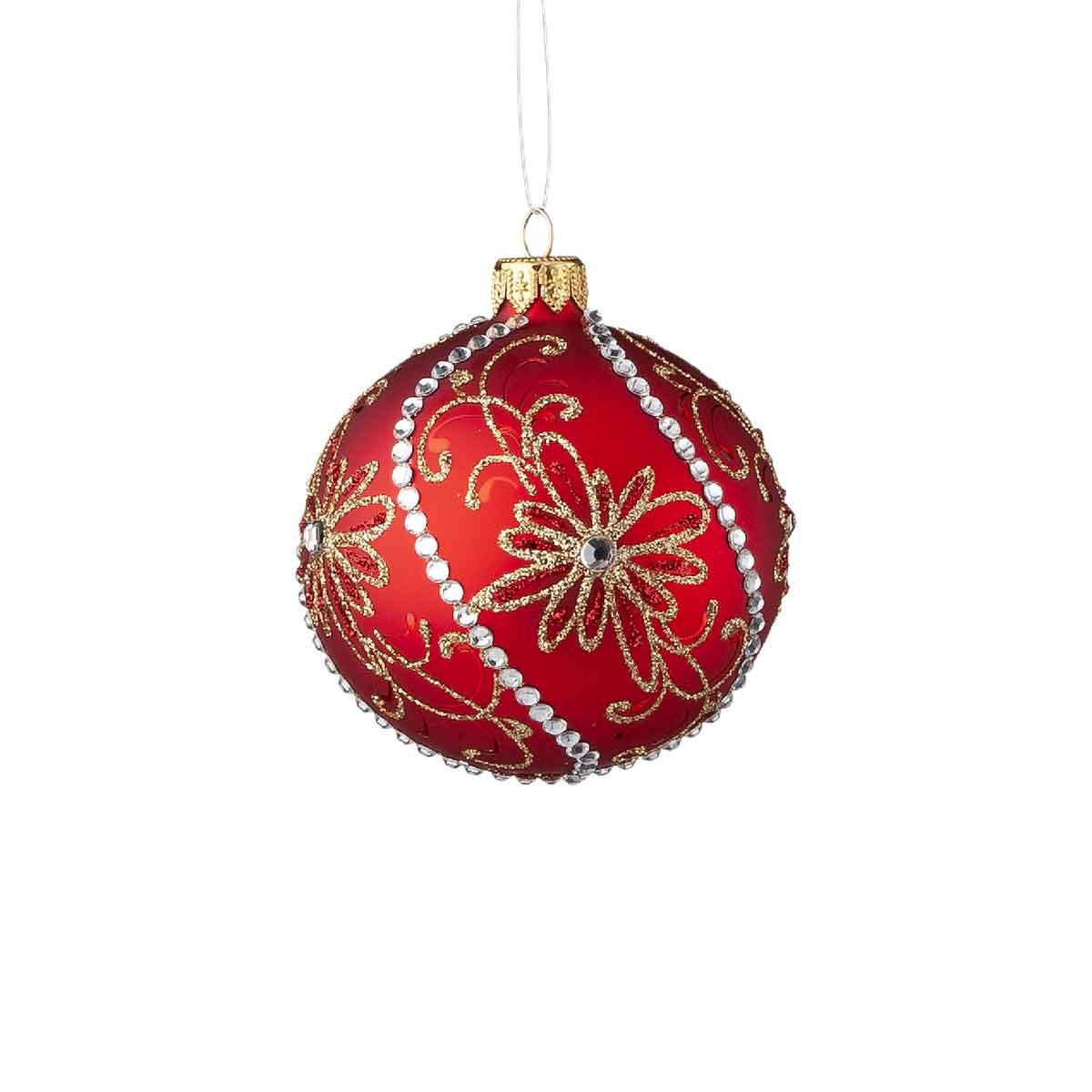 Sfera in vetro rosso con glitter diametro 8cm