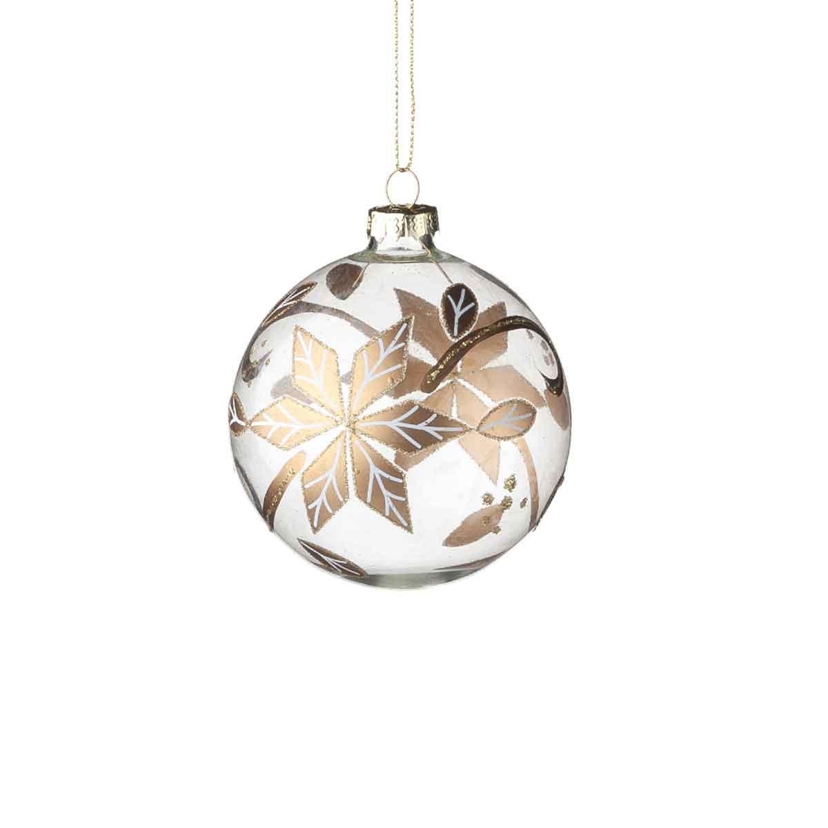 Sfera in vetro stella di Natale diametro 8cm