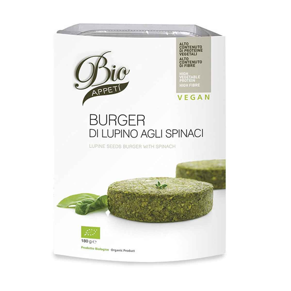 Bio appetì Burger di lupino agli spinaci