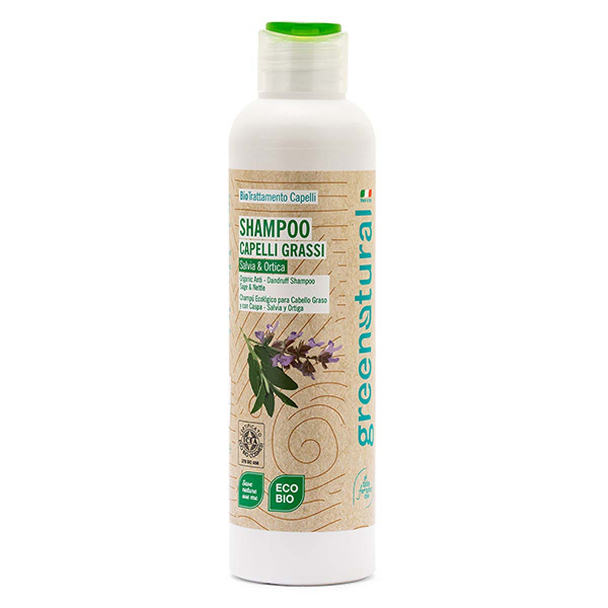 Greenatural – Shampoo Capelli Grassi e con Forfora Salvia & Ortica 250ml